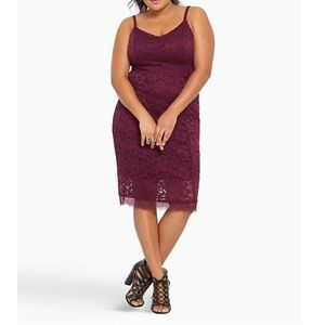 Torrid Lace Bodycon Dress Strapless Lined 0
